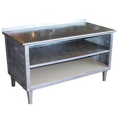 Vintage American Zinc Baker's Work Table