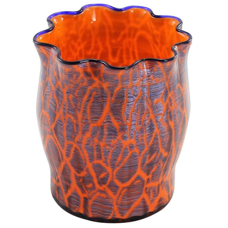 Art Deco Bohemian Crystal Glass Vase For Sale At 1stdibs