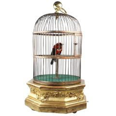Antique Hexagonal Base Single Singing Bird in Cage by Bontems