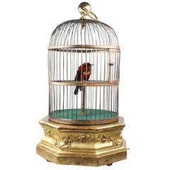 Antique Hexagonal Base Single Singing Bird in Cage by Bontems