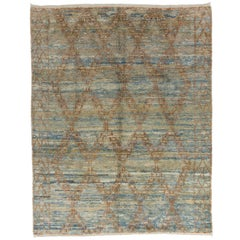 Moroccan Wool Rug in Light Blue and Rust Color