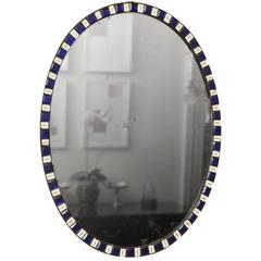 Antique Irish Oval Mirror with Sapphire and Enamel Jewels, circa 1785