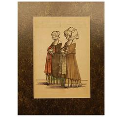Late 18th Century Hand Colored Print of European Ladies