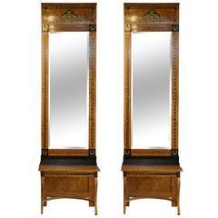 19th Century Pair of Russian Beechwood Mirrors