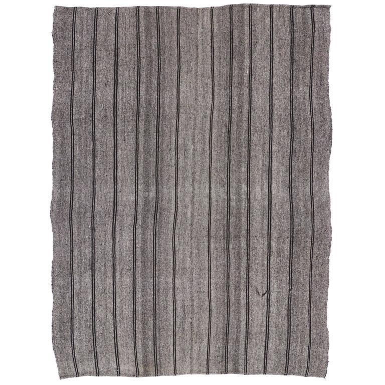 Minimalist Vintage Turkish Kilim with Stripes and Modern Industrial Style