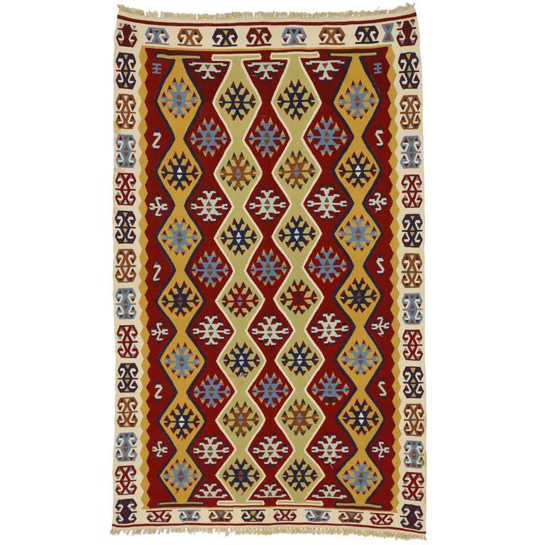 Vintage Turkish Silk Kilim with Tribal Design and Modern Style, Flatweave Kilim