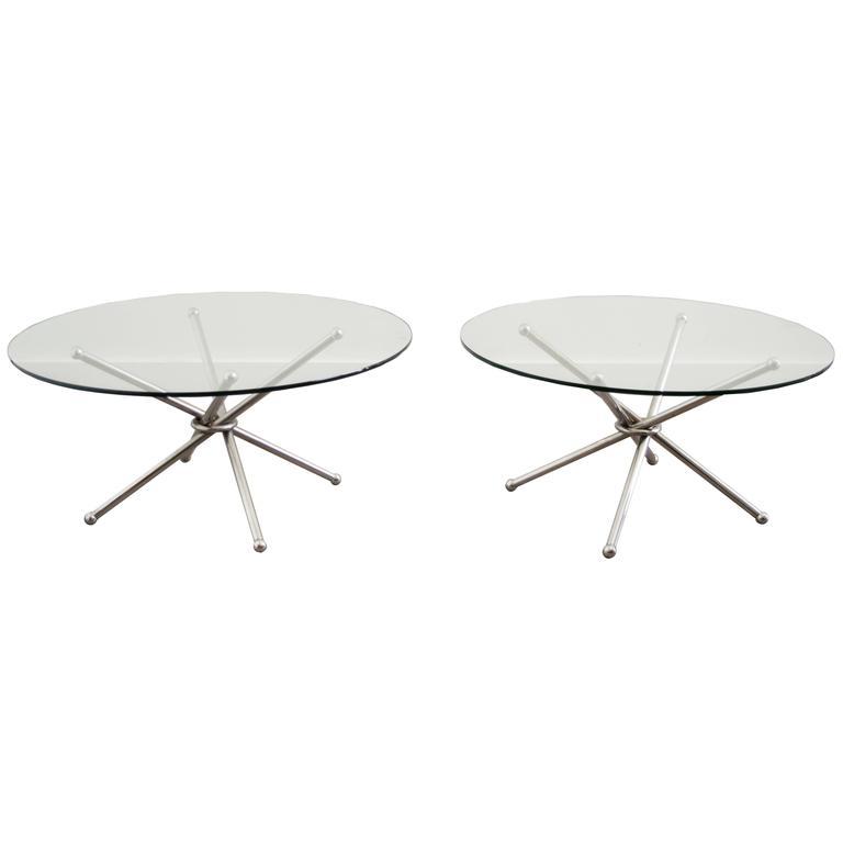 Mid-Century Paul Mayen Pair of Chrome Glass Side End Tables