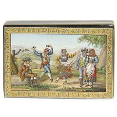 """Tarantella,"" Tortoise Shell and Gold Snuff Box, with Micromosaic, 18th Century"