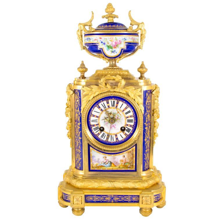 19th Century French Ormolu Porcelain Mantel Clock