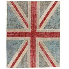 8x10 Ft Union Jack, British Flag Design Patchwork Rug. Custom Colors & Sizes