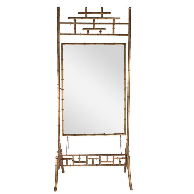Regency Gold Gilded Faux Bamboo Chinese Chippendale Cheval / Floor Mirror For Sale