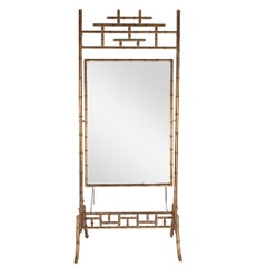 Regency Gold Gilded Faux Bamboo Chinese Chippendale Cheval / Floor Mirror