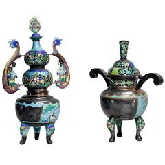 Two Fine Qing Dynasty Silver and Enamel Incense Burners