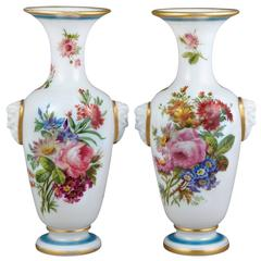 Fine Pair of Baccarat White Opaline Glass Vases