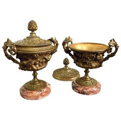 Pair of Decorative Brass Urns and Covers on Marble Bases