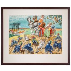 """""""Farm Patrol"""" Watercolor by L. R. Brightwell"""