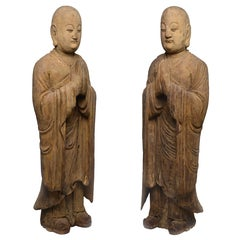 Pair of Wood Figures of a Luohan