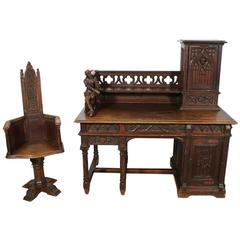 Gothic Desk and Chair, Alphonse De Tombay Dated 1891