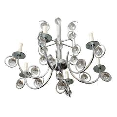 Sensational Sciolari Chrome Chandelier with Smoky and Clear Glass Drops