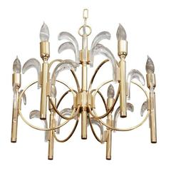 Spectacular Brass and Glass Chandelier by Gaetano Sciolari