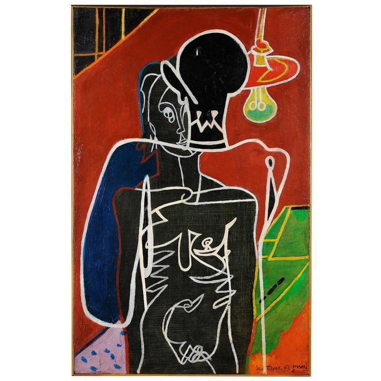 Pierre Courtens, La Nuit, 1953, Oil on Panel
