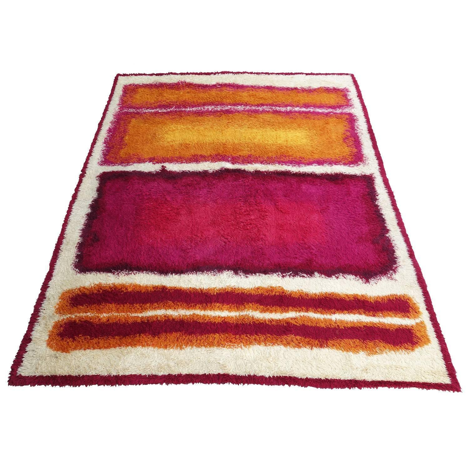 Mid-Century Mark Rothko Inspired Shag Rya Rug At 1stdibs