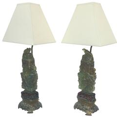 Early 20th Century Chinese Deco Lamps, Pair