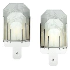 Frosted Glass Art Deco Sconces