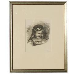 Original Stone Lithograph by Pierre-Auguste Renoir - La Tete Baisee
