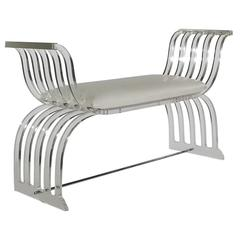 Art Deco Curved Lucite Settee or Bench after Charles Hollis Jones