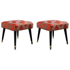Pair of Italian Dom Edizioni Lacquered and Brass Pauline Banquette Bench Seat