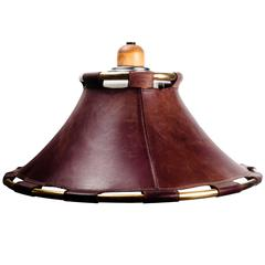 Large Brown Leather and Brass Pendant Made in Sweden, 1970s