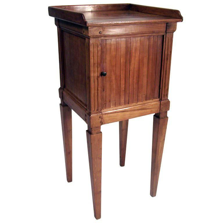 Neoclassical Cherrywood Bedside Table Cabinet, French, Late 18th Century