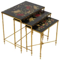 Set Brass French Maison Bagues Style Faux Bamboo Form Chinoiserie Nesting Tables