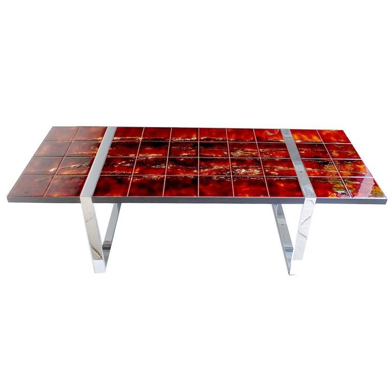 Large Belarti Mid Century Ceramic Tile Side Coffee Table,  1960s Capron Style