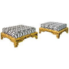 Pair of Large Bamboo Ottomans, circa 1970, France