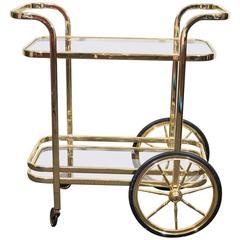 Stunning Brass Tea or Bar Cart in the Style of Milo Baughman, circa 1970