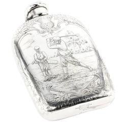 Art Nouveau Tiffany Sterling Silver Large Lap over Edge Golf Flask, circa 1909
