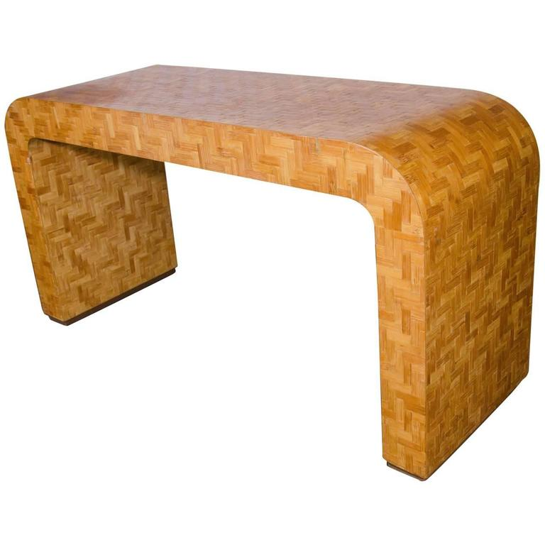 White Waterfall Tables ~ Phenomenal parquetry waterfall console table circa