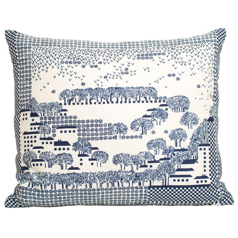 Vintage Echo Blue and White Silk Scarf with Irish Linen Cushion Pillow