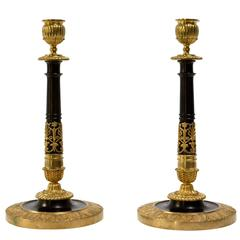 Pair of Gilt and Patinated Bronze Candlesticks, Early 19th Century