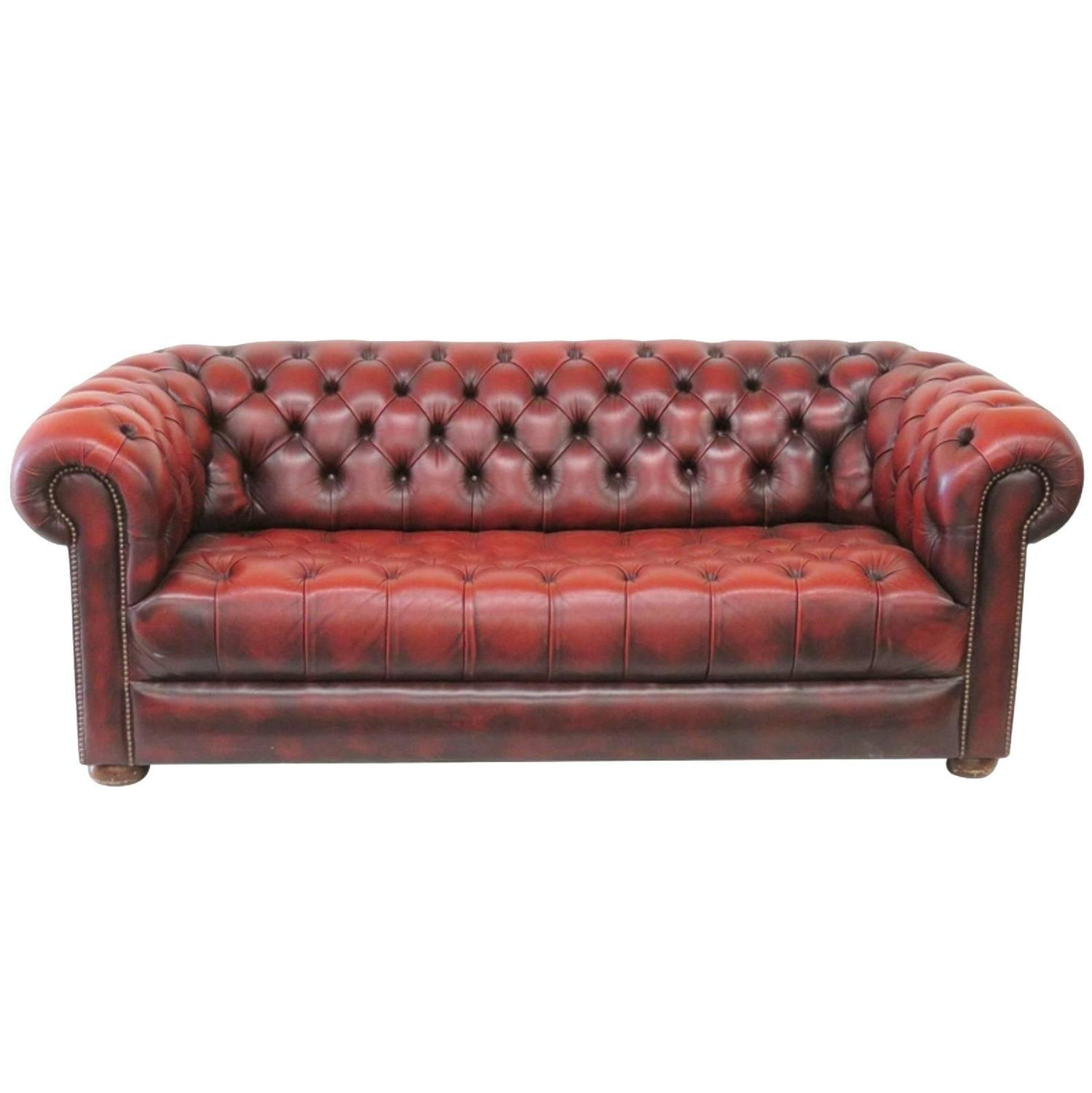 Tufted Red Leather Chesterfield Sofa At 1stdibs