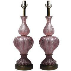 Pair of Vintage Pink Murano Glass Lamps with Silver Foil by Barovier