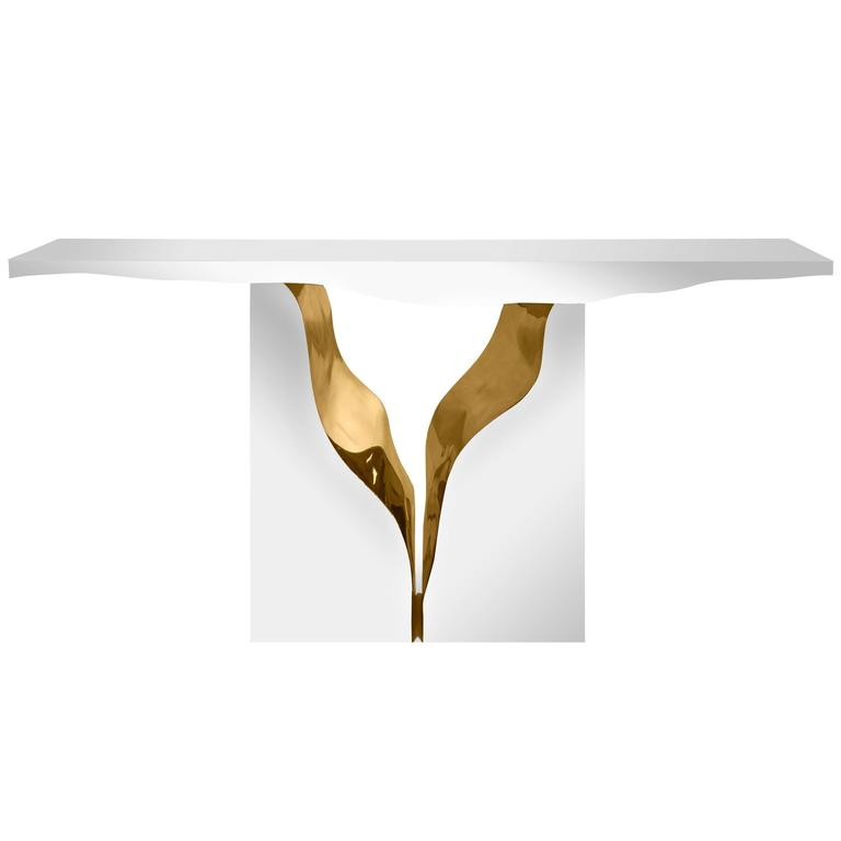 Paradise Console Table in Mahogany and Polished Brass