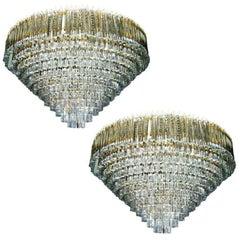 Pair of Large Venini Glass Light Fixtures