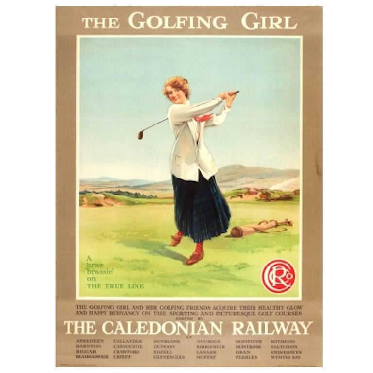 Original Vintage Caledonian Railway Travel Advertising Poster The Golfing Girl For Sale