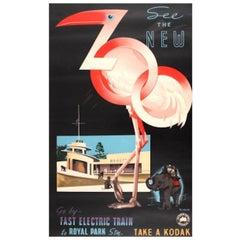 Original Vintage Art Deco Poster See The New Zoo Victorian Railways Australia