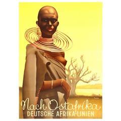 Original Vintage Deutsche Afrika Linien Poster: To East Africa / Nach Ostafrika