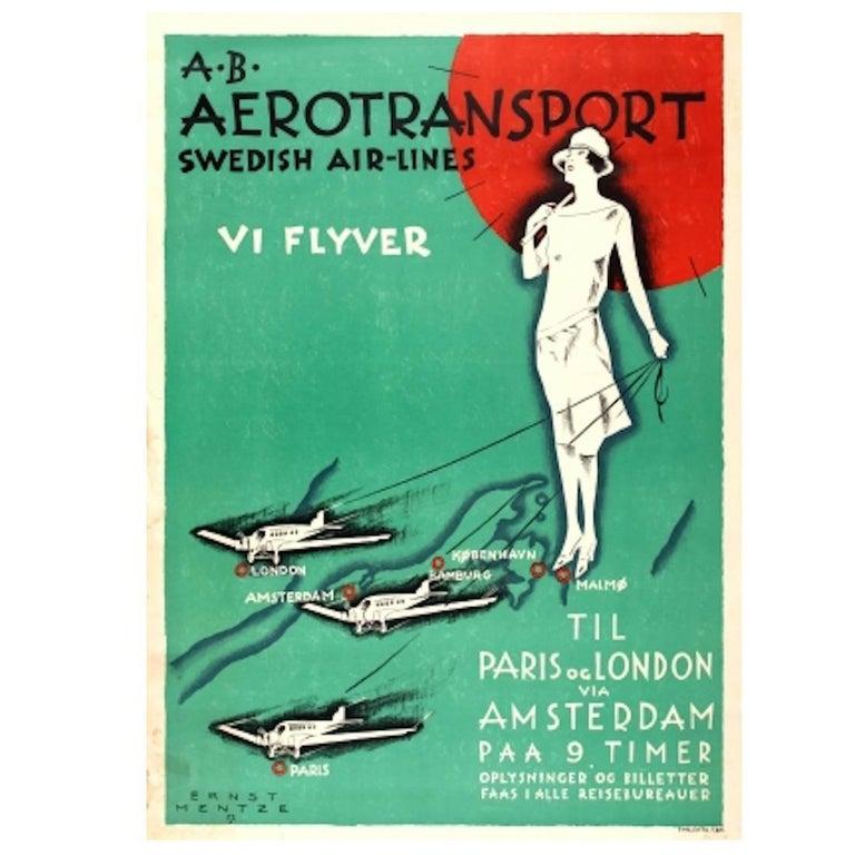 Original Vintage Art Deco Style Poster Aerotransport Swedish Airlines VI Flyver For Sale