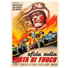 """Original Italian Movie Poster For """"The Challengers"""" (Pista di Fuoco) Grand Prix"""